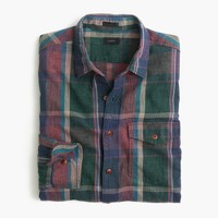 Slim heathered slub cotton shirt in green plaid