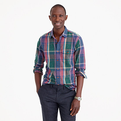 Slim heathered slub cotton shirt in green plaid