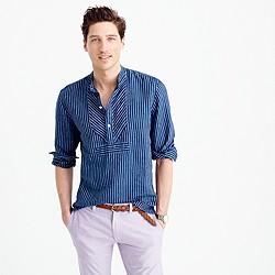 Wallace & Barnes Irish linen band-collar popover shirt