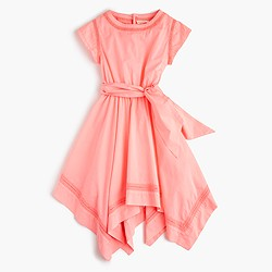Girls' eyelet handkerchief dress