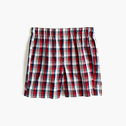 Boys' red and blue check boxers