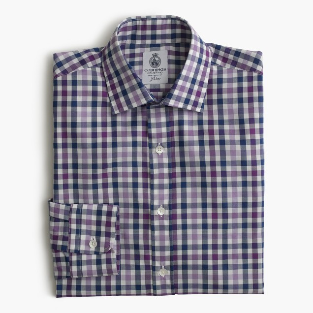 Cordings™ for J.Crew shirt in aubergine check