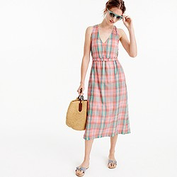Cross-back dress in vintage plaid