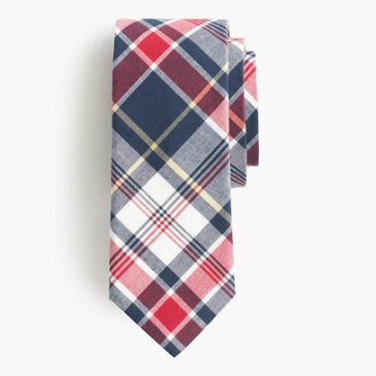Cotton tie in navy plaid
