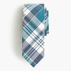 Cotton tie in blue plaid