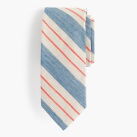 English linen-cotton tie in blue stripe