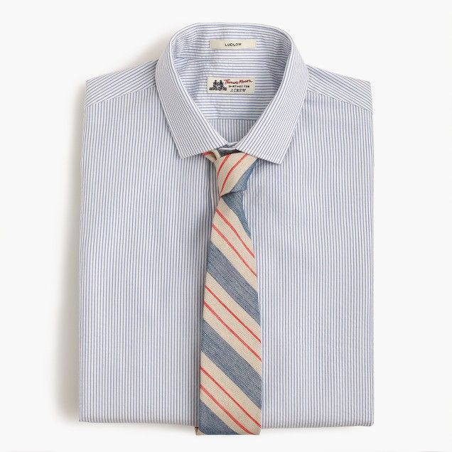 English linen-cotton tie in blue stripe