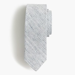 English cotton tie in indigo ticking stripe