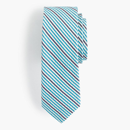 Italian silk tie in seersucker