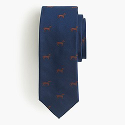 Italian silk tie with embroidered dachshunds