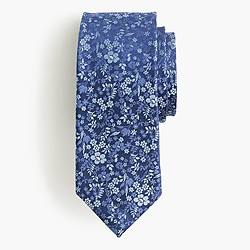 Italian silk tie in blue floral