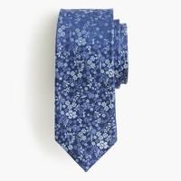 Italian silk tie in blue floral