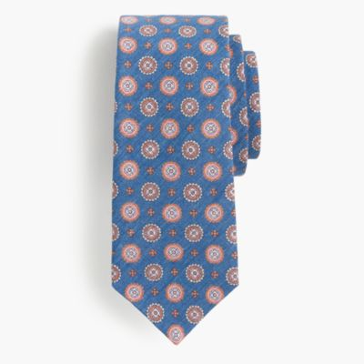 Italian linen-silk tie in red medallion