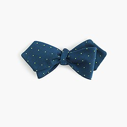 Italian silk bow tie in pale navy dot