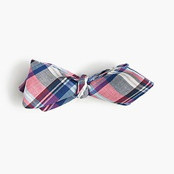 Italian linen-silk bow tie in pink plaid