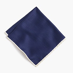 Tipped Italian silk pocket square in classic navy