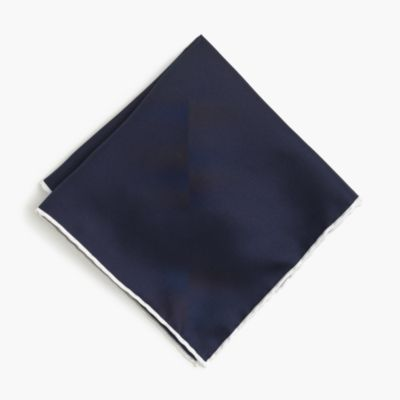 Tipped Italian silk pocket square in blue