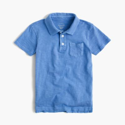 Boys' garment-dyed polo shirt