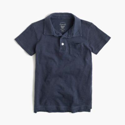 Boys' garment-dyed polo shirt