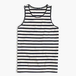 Faux-leather scalloped trim tank top in stripe
