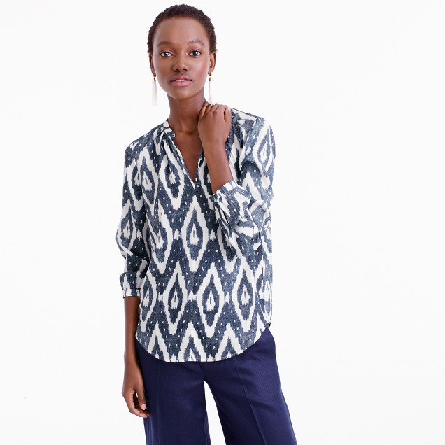 Collection long-sleeve V-neck top in ikat