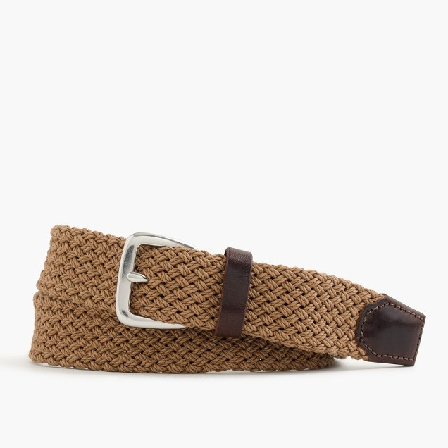 Braided cotton belt in light hickory