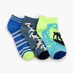 Boys' glow-in-the-dark shark socks three-pack