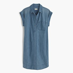 Short-sleeve chambray shirtdress