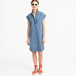 Petite short-sleeve chambray shirtdress