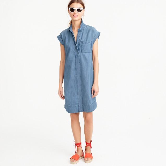 Petite short-sleeve chambray shirtdress