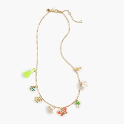 Girls' neon beach charm necklace