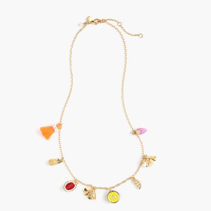 Girls' neon beach charm necklace