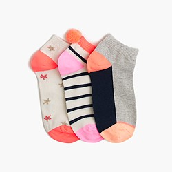 Girls' summer ankle socks three-pack