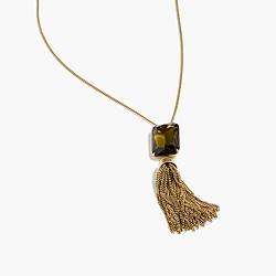 Beaded tassel necklace in fern