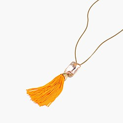 Beaded tassel necklace in pale guava