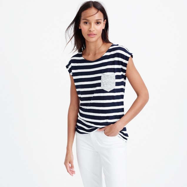Linen striped pocket T-shirt