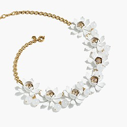 Petal and crystal necklace