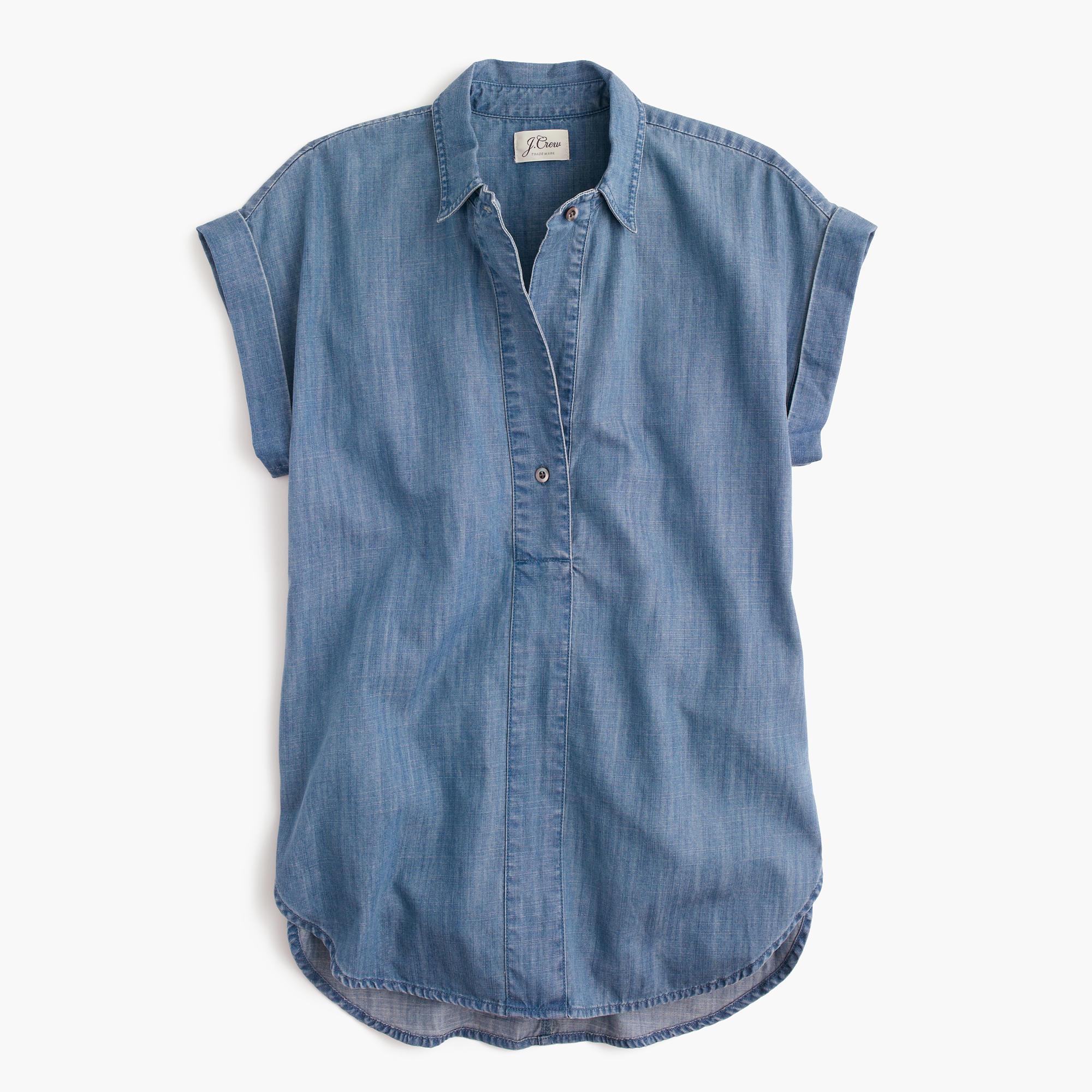 Short Sleeve Popover Shirt In Chambray Women Blouses J