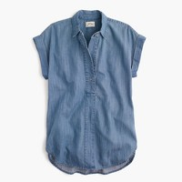 Petite short-sleeve popover shirt in chambray