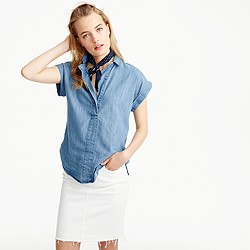 Short-sleeve popover shirt in chambray