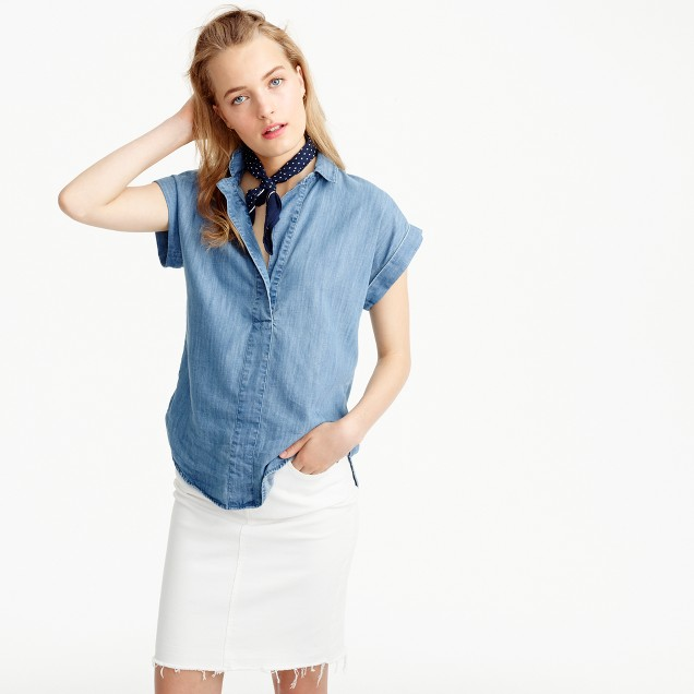Short sleeve popover shirt in chambray women blouses j for Chambray shirt women