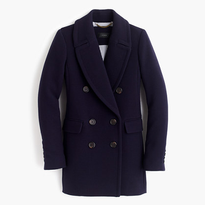 Double-breasted coat in double-cloth wool