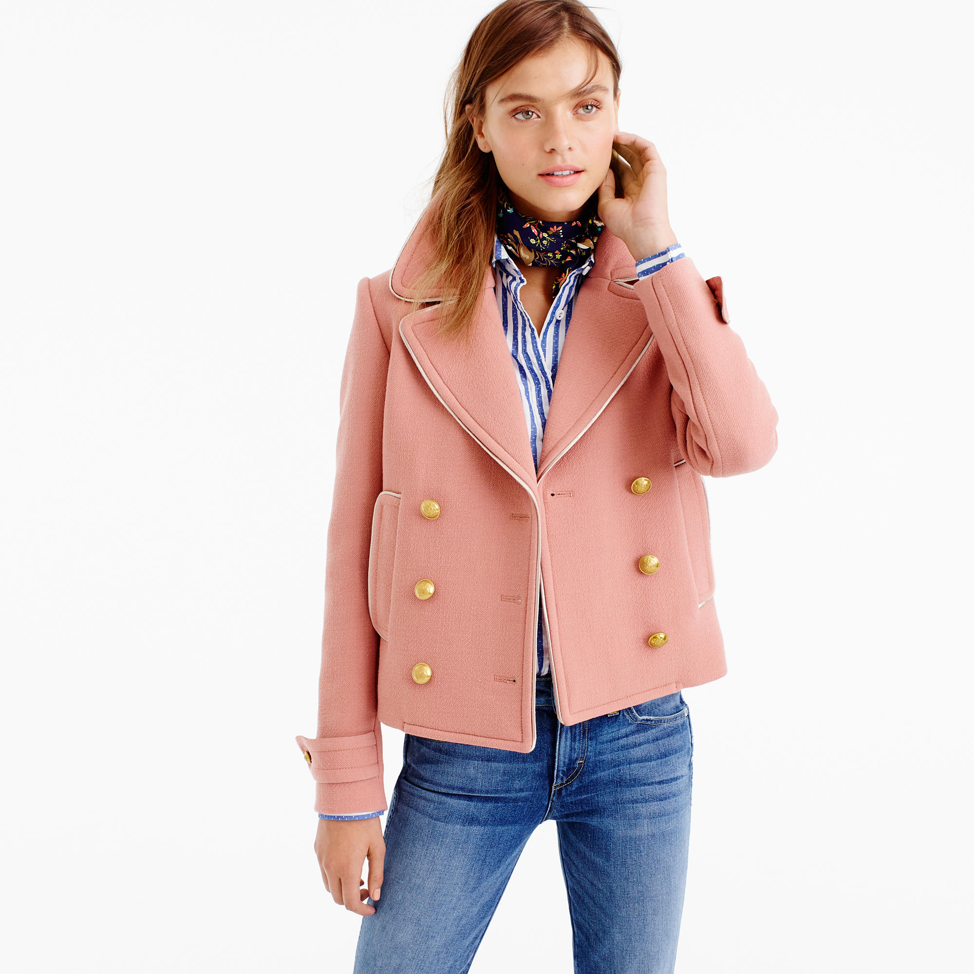 Short double-breasted coat in double-cloth wool : | J.Crew