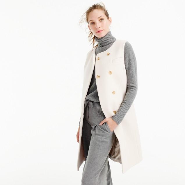 Belted vest in Italian wool