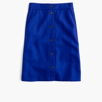 Tall button-front skirt in double-serge wool