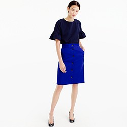 Petite button-front skirt in double-serge wool