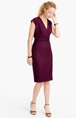 V-neck dress in Super 120s wool