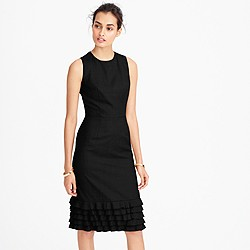 Petite ruffle hem dress in Super 120s wool