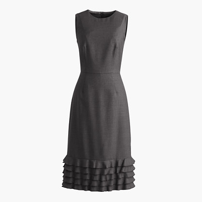 Ruffle hem dress in Super 120s wool