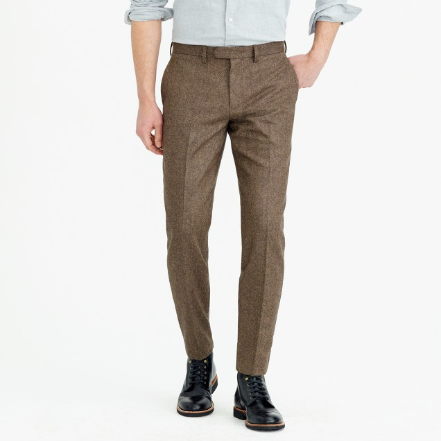 Bowery slim pant in herringbone wool